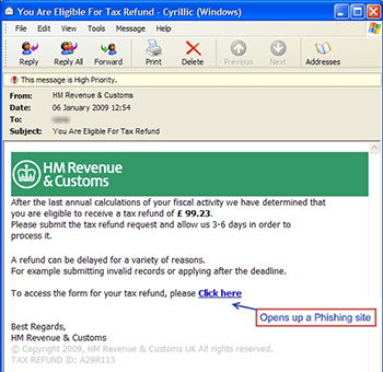 HMRC phishing email example