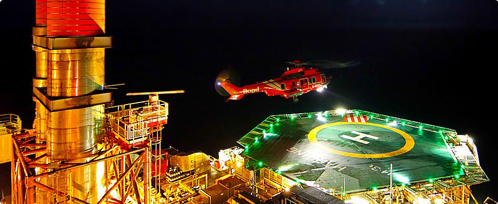 nightime helipad oil rig